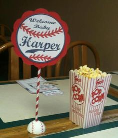Baseball Baby Shower Table Decorations    Most reproducibles can be purchased here:  https://www.etsy.com/listing/112705907/on-sale-on-sale-baseball-baby-shower?ga_search_query=baseball%2Bbaby