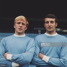 English footballers and players with Manchester City FC, Francis Lee (left) and Neil Young posed together on the pitch inside Maine Road stadium in Manchester in July Football Cards, Football Players, College Basketball, Soccer, Everton Fc, Neil Young, Old Trafford, European Football, Arsenal Fc