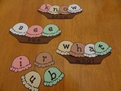 Sight word sundaes - each sundae boat has a word; kids use letter scoops to build them. From Kindergarten Lesson Plans. Teaching Sight Words, Sight Word Games, Sight Word Activities, Literacy Activities, Kindergarten Lesson Plans, Kindergarten Centers, Kindergarten Reading, Literacy Centers, Homeschool Kindergarten