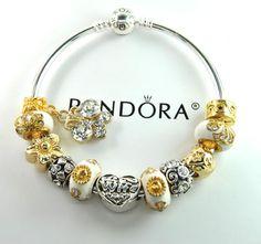 Authentic Pandora Silver bangle charm bracelet with European Charms Love Wife #Pandoralobsterbangleclaspclaw #European