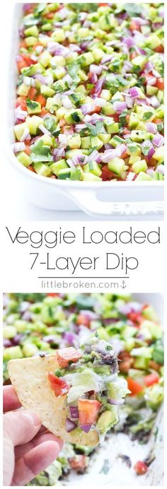 Healthy 7-layer appetizer without any processed canned stuff. Just simple, real food.