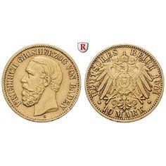 Deutsches Kaiserreich, Baden, Friedrich I., 10 Mark 1901, G, ss+, J. 188: Friedrich I. 1852-1907. 10 Mark 1901 G. J. 188; GOLD, sehr… #coins