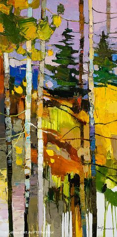 Iosif Derecichei Deep in The Magical Forest 24 x 48 Galerie dart Au Ptit Bonheur Art Gallery Forest Painting, Forest Art, Abstract Landscape Painting, Landscape Art, Landscape Paintings, Magical Forest, Art Paintings, Abstract Art, Dark Forest