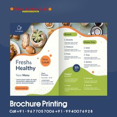 Brochure Food, Corporate Brochure Design, Flyer Design Templates, Brochure Template, Brochure Printing, Macarons, Fruit Soup, Bio Food, Pamphlet Design