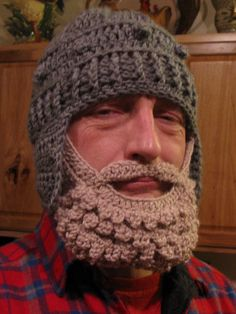 My original beard hat pattern/ adult size for crochet Crochet Beard Hat, Crochet Beanie, Knitted Hats, Knit Crochet, Crochet Crafts, Crochet Projects, Crochet Stitches, Crochet Patterns, Crochet Mens Hat Pattern
