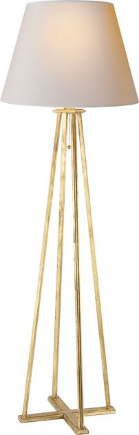 Floor Lamp in Gilded Iron with Natural Paper Shade