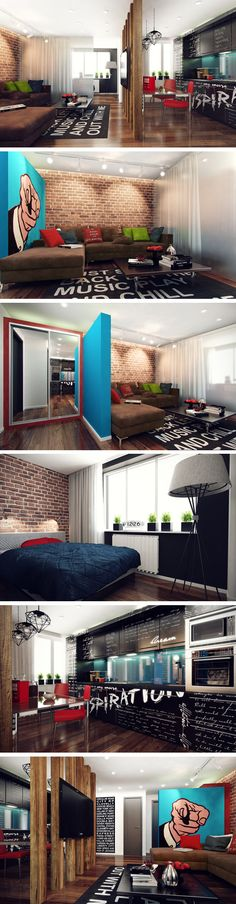 We really love exposed brick walls. This youthful inspiring home has its point of interest on the blue background hand pop-art poster and the lyrics kitchen furniture and carpet. (Cool Rooms Without Ac) Interior Exterior, Exterior Design, Interior Architecture, Deco Design, Design Case, Pop Art Design, Style At Home, Small Apartments, Small Spaces