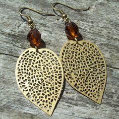 Good Earth Earrings  (antique brass large leaf) by MySoulCanDance on Etsy