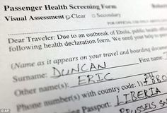 Document: A photo shows a copy of a passenger health screening form filled out by Thomas E...