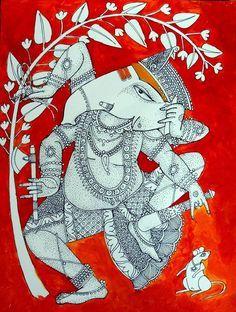 Related image Shri Ganesh, Ganesha Art, Lord Ganesha, Madhubani Art, Madhubani Painting, Painting & Drawing, Knife Painting, Kalamkari Painting, Drawing Sketches