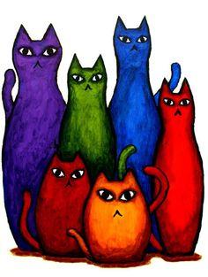 good looking rainbow cats - cat art Red Cat, Blue Cats, Crazy Cat Lady, Crazy Cats, I Love Cats, Cool Cats, Child Draw, Gatos Cat, Cat Colors