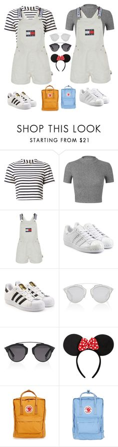 """Disneyland with bestie🌤"" by scoupstastu ❤ liked on Polyvore featuring Organic by John Patrick, Miss Selfridge, Tommy Hilfiger, adidas Originals, Christian Dior, Disney and Fjällräven"