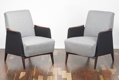 A beautiful pair of armchairs, circa 1960. Lovely design with angular shape and tapered and splayed legs so typical of an era. The chairs are solid, heavy and of very good quality. www.viremo.co.uk Cocktail Chair, Modern Armchair, Armchairs, Accent Chairs, Dining Chairs, Shape, Legs, Retro, Vintage