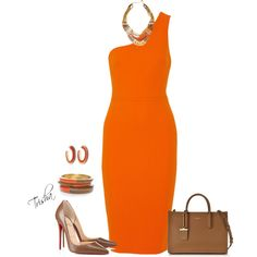 Orange & Tan by pkoff on Polyvore featuring Victoria Beckham, Christian Louboutin, DKNY, Chico's and NAKAMOL