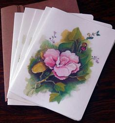 Watercolor Foral Cards Packet of 6 Blank 5 X 7 by MeerMemories, $15.00