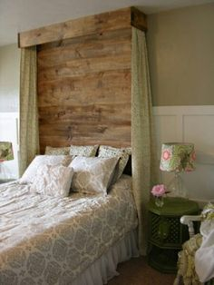 Pallet headboard but paint it cream or white and use pretty white curtains...