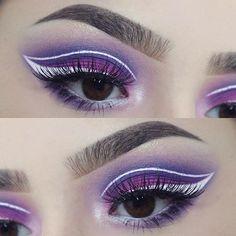 I love playing around with eyeliner . . deets: @anastasiabeverlyhills brow wiz in medium @bhcosmetics take me to brazil palette @nyxcosmetics white liquid liner @eylureofficial vegas nay grand glamor lashes