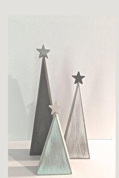"Rustic Christmas, wood Christmas trees, tree shelf sitters, primitive trees, Christmas decor, gray and aqua, modern decor, aqua tree,   9"", 7"", and 5"""