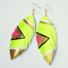 Neon Aztec    Light Neon Yellow  Faux Leather by lovesexton, $19.80