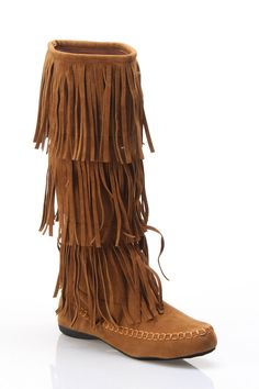 Flat Fringe Boot In Rust