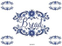 NeW! XL BLuE DeLfT FLoRaL SWaGs BReaD LaBeL ShaBby WaTerSLiDe DeCAL | Designs by Iris