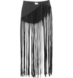 f6fda2c9cff A little more skirt with a little shorter fringe. Mansuria Jersey Fringe  Sarong Cover Up in Black