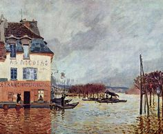 """Alfred Sisley (1839-1899) was an English Impressionist landscape painter. He was a British citizen, but was born, and spent most of his life, in France. Sisley is known for his Impressionist landscapes painted en plein air, that is, outdoors. He never went into portrait painting and continued in the impressionist style all of his career. (Wikipedia) (""""Flood at Port-Marly"""" by Alfred Sisley)"""