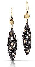 "Deconstructed Deco II by Shauna Burke (Gold, Silver, & Stone Earrings) (2"" x 0.75"")"