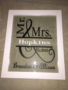 Vinyl wedding gift - floating frame