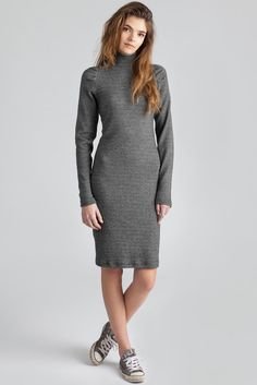 Core Dress by Canadian eco-fashion label Pillar. Knee length, long sleeve stretchy turtleneck dress, available in grey. Ethically made in Vancouver, Canada. Turtleneck Dress, Ribbed Knit Dress, Rib Knit, Wardrobe Basics, Stretch Dress, Fashion Labels, Turtlenecks, Gray Dress, Vancouver