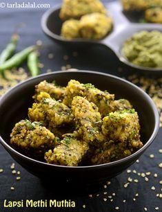 Lapsi Methi Muthia ( Non- Fried Snacks ) recipe Gujarati Cuisine, Gujarati Recipes, Indian Food Recipes, Ethnic Recipes, Gujarati Food, Veggie Recipes, Vegetarian Recipes, Snack Recipes, Healthy Recipes