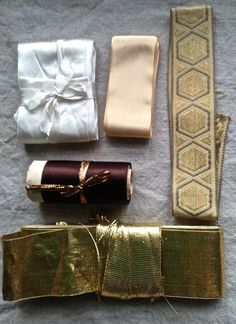 Vintage Tapes & Ribbons Golden, Satin, Metallic Braid and Grosgrain / French Millinery Supplies 5pc by BrocanteArt on Etsy