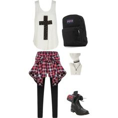 A fashion look from February 2015 featuring white tank, plaid pants and black boots. Browse and shop related looks.