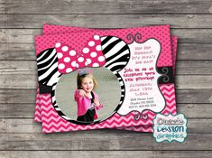Having a themed birthday party? This Mouse Birthday Invitation features zebra or black mouse ears with a polka dot bow. With your child as the star, this is a perfect invite for your minnie mouse! by DazzleDesignGraphics