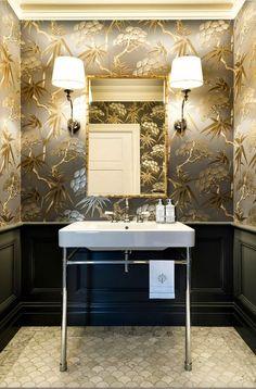 Modern powder room with hardwood floors powder room for Funky bathroom wallpaper ideas
