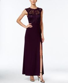 Nightway Banded Lace Cap-Sleeve Slit Gown | macys.com