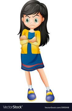 An angry young lady vector image on VectorStock Body Preschool, Arab Women, Vector Stock, English Language, Young Women, Adobe Illustrator, Cute Kids, Character Design, Cartoons