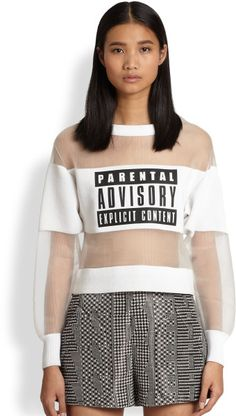 Parental Advisory Neoprene Sheer Organza Sweatshirt - Lyst