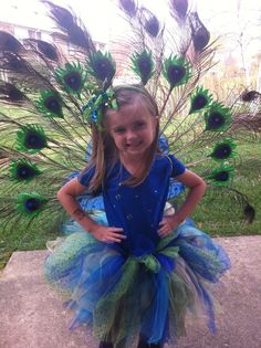 Peacock tutu costume with plummage attched to butterfly wings