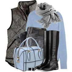 A fashion look from October 2014 featuring N.Peal Cashmere sweaters, J.Crew vests and Cole Haan boots. Browse and shop related looks.