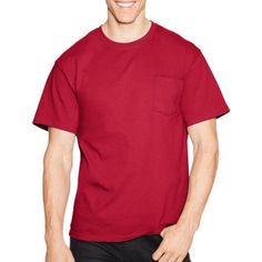Hanes Men's Tagless Short Sleeve Pocket T-shirt, Size: Large, Red