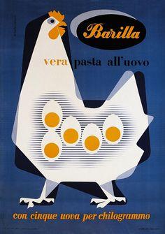 Erberto Carboni, early 1950s , advertisement for Barilla egg pasta