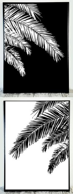 Black White Palm Printable Palm Black White Print by CristylClear
