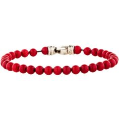Pre-owned David Yurman Spiritual Red Coral Bead Bracelet ($195) ❤ liked on Polyvore featuring jewelry, bracelets, red, david yurman bracelet, red bangles, bracelet jewelry, bead bracelet and preowned jewelry