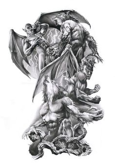 Vampire werewolf tattoo