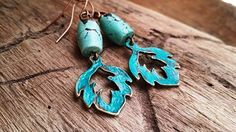 Boho Rustic Turquoise and Brass Leaf with by bymichelemohr on Etsy