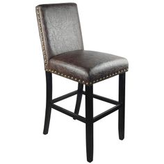 Pull up a seat and enjoy a casual meal or drink with the relaxed classic design of this luxury bar stool. This chair is finished in an espresso faux leather with square wood legs and detailed with nail heads for the ultimate style.
