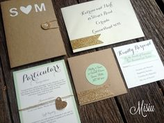 Image of Mint and Glitter Gold Pocket Folder Wedding Invitation Set
