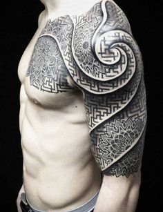 Half-sleeve geometric tattoo design