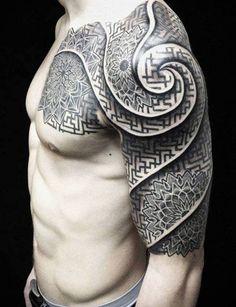Half-sleeve geometric tattoo design